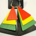 "3"" 4 Layer Rasta Color Earring  Pyramid Shape  .54 ea"