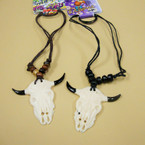 Leather Cord Necklace w/ Bone Steer Pendant  .56 ea
