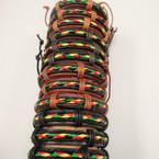 Teen Leather Bracelet w/ Braid Rasta Color Center .54 ea