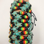 Black Macrame Bracelet w/ Wood Rasta Color Beads & 3 Turq. Stone Turtle .54 ea