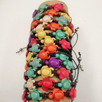 Macrame Cord Bracelet w/ Multi Color Stone Turtles .54 ea