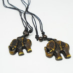 DBL Black Leather Cord Necklace w/ Elephant  Pend. .54 ea