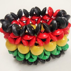 "2.25"" Wide Rasta Color Wood Stretch Bracelet .54 ea"