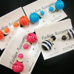 Popular 2 Part Front/Back Earring Stripe Ball & Solid Ball  .52 ea