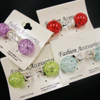 Popular 2 Part Front/Back Earring Crackled Ball & Clear Crystal .54 ea