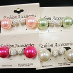Popular 2 Part Front/Back Earring Colored Pearl  &  Crystal Fire Ball  .54 ea