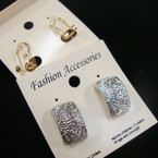 Classic Gold & Silver Brushed Finish French PCD Clip Earring .54 ea