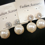 Evening Wear Elegant Pearl Drop & Crystal Stone Earring .54 ea
