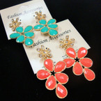 "2"" Bubble Stone Earring w/ Crystal Stone Flower Top .54 ea"