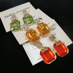 Gold Frame Gemstone Earring w/ Crystal Stone Top .54 ea