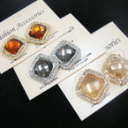 Elegant Gold & Silver Sq. Earring w/ Mini Crystals & Color Stone Center .54 ea