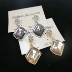 Classy Gold/Silver Smoked Stone Fashion Earring w/ Mini Crystals .54 ea