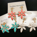 Cute Colorful Flower & Crystal Stone Summer Earrings .54 ea