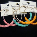 "2"" Gold Hoop Earring w/ COlorful Seed Beads .54 ea"