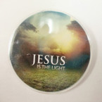 "1.75"" Jesus is the Light Buttons 24-8 pks per bag .40 ea pack"