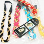 Trendy Braided Color & Gold Cord Headband w/ Elastic Back .52 ea
