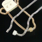 "16"" Magnet Gold & Silver Snake Chain Neck Set w/ Crystal Stone Bead .56 ea set"