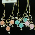 "18"" Gold Chain Neck Set w/ Pearls & Flower Charms .56 per set"