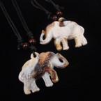 "DBL Leather Cord Necklace w/ 2"" Elephant Pendant .54 ea"