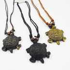 "DBL Leather Cord Necklace w/ 2.75"" Turtle Pendant .54 ea"