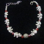 Cast Silver Elephant Bracelet w/ Red Crystal Beads .54 ea