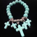 Turquoise Stone Stretch Bracelet w/ Dangle Cross Charms .54 ea