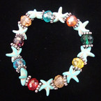 Turquoise Starfish Stretch Bracelet w/ Multi Color Crystal Beads .54 ea