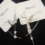 Gold & Silver Thread Wire Fashion Earring w/ Rhinestones .52 ea pr