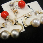 Textured Gold Fashion Loop Earring w/ Crystal Stone & Colored Pearl  Ball  .52 ea