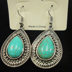 Cast Silver Earring w/ Oval Turquoise Stone .52 ea