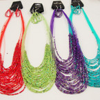 "20"" Asst Color Multi Strand Seed Bead Necklace Set .54 ea set"