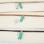 Trending Suede Cord Choker Necklace w/ Turquoise Stone Pendant  .52 ea set