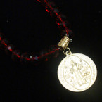 Red Crystal Bead Bracelet w/ Round Gold Saint Charm .54 ea