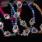 Crystal Bead Stretch Bracelet w/ Hand & Eye Bead .54 ea