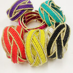 7 Color Seed Bead Cuff Bangle Bracelet w/ Gold Beads .54 ea