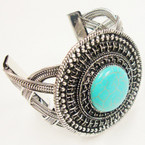 "Hi Fashion Silver Cuff Bracelet w/ 2.5"" Circle w/ Turquoise Stone SOLD BY PC 3.00 ea"