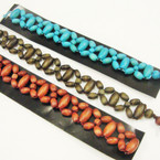 "1"" Wide Wood Bead Bracelet 3 colors ONLY .25 ea"
