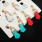 Cute GOld Fashion Earring w/ Stone Drop Mixed Colors .52 ea