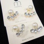 Elegant Gold/Sil Frame Earring w/ Pearl & 4 Crystals .52 ea