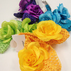 "2 Pk 1.5"" Crochet Headband w/ 2"" Mixed Color Flower 12-2 pks for $ 6.50"