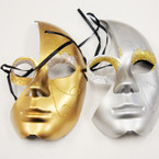 "6"" X 9"" Gold & Silver Party Glitter Mask .56 ea"