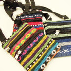 "4.5"" X 6."" Knit Fabric Tribal Print Lg. Strap 2 Zipper Side Bag  .56 ea"