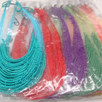 "22"" Multi Strand Seed Bead Neck Set Asst Brights .54 per set"