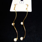 "3"" Wavy Gold Fashion Earring w/ Rhinestone Top & Pearls .45 ea"