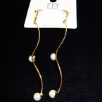 """3"""" Wavy Gold Fashion Earring w/ Rhinestone Top & Pearls .54 ea"""