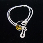 Silver Rope Chain Necklace w/ Happy Face Ring Pendant 12 per pk CLOSEOUT .16 ea