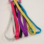 6 Pack Elastic Colorful Headbands w/ Metallic Stripes .50 ea set