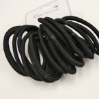 18 Pack NO METAL Elastic Ponytailers All Black .50 ea set