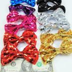 "4.5"" Shiney Sequin Fashion Bow on Gator Clip .54 ea"