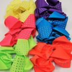"5""  Neon Color Fashion Bow on Gator Clip w/ Clear Stones  .54 ea"